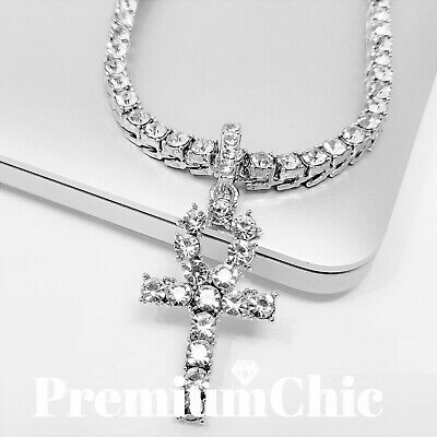 ICED OUT ANKH Cross Pendant Tennis Chain 14k White Gold Silver Hip Hop Necklace