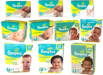 Pampers Swaddlers Diapers Size P-1 P-2 P-3 Newborn 1 2 3 4 5 6 - ALL SIZES