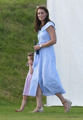 NEW ZARA Blue Striped Off The Shoulder Dress M as seen on KATE MIDDLETON