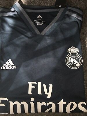 Real Madrid Soccer Jersey Mens LARGE Fly Emirates dark grey new