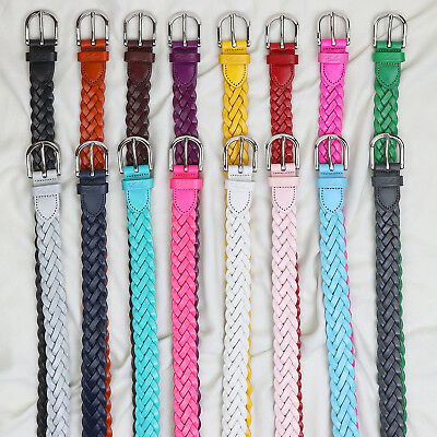 Falari Womens Leather Hand Braided Belt Stainless Steel Buckle 6007-16 Colors