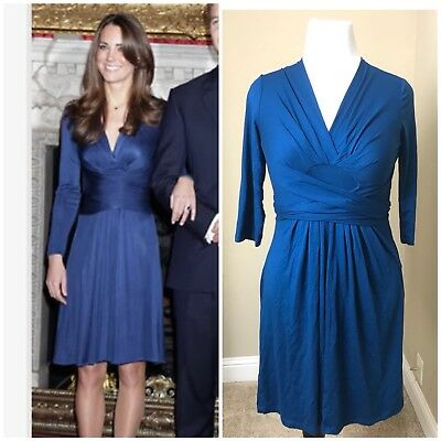 Issa London Banana Republic Kate Middleton 34 Sleeve Wrap Tie Dress Teal Small