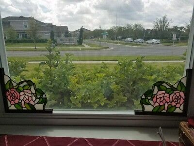 Pair of Leaded Stained Glass Corner Panels 8-25x8 New