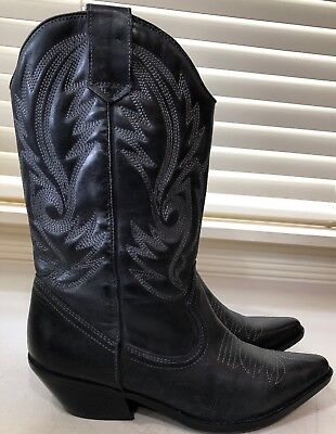 ALDO Leather Cowboy Cowgirl Western Boots Black Womens Size 40 US 9