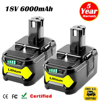 2XFor Ryobi P108 18V 6-0Ah Lithium Ion Battery Pack Replaces P122 P105 P103 P102