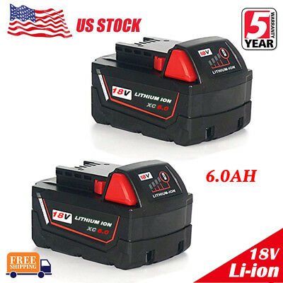 2x For Milwaukee M18 Lithium XC 6-0 AH Extended Capacity Battery Pack 48-11-1852