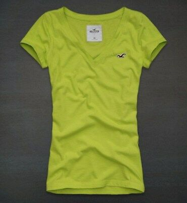 Hollister Co- Womens Vintage Green Seal Beach T-Shirt Graphic V-Neck Tee Small S