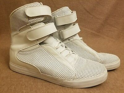 Supra Men White High Top Skate Leather Perforated Sneakers Lace Up Shoes Size 13