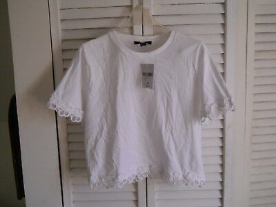 NWT FOREVER 21 White Short Sleeve Knit  Top Size Medium M