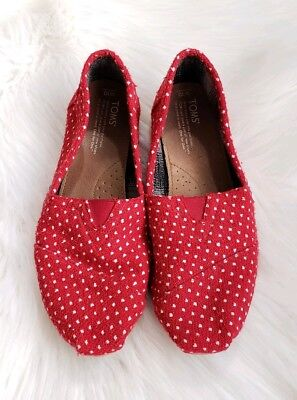 TOMS Womens Red - white polka slip on Shoes size 10