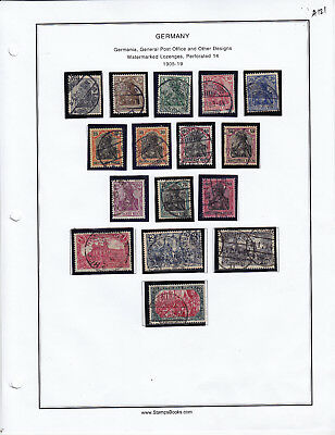1905-1919 Germany Stamp Lot From Album Collection A121
