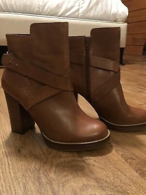 Steve Madden Brown Genuine Leather Sizzzlee Booties With Heel Size 10