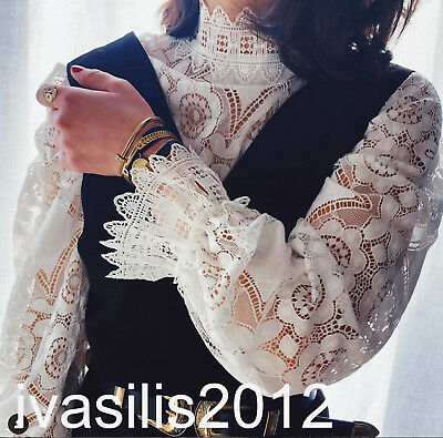 ZARA NEW WOMAN COMBINED LACE TOP HIGH NECK WHITE BLOUSE SML  2488004
