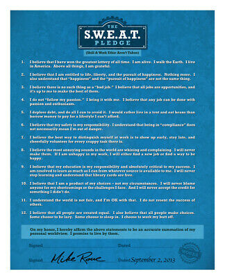 Mike Rowes The S-W-E-A-T- Pledge Poster 2-0 Skill - Work Ethic Aren't Taboo