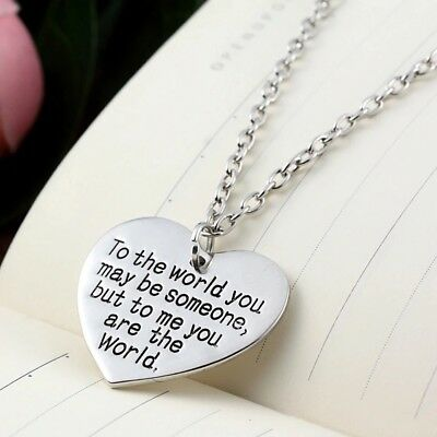 Mother's Day for Mom Wife Girlfriend You are My World Heart Necklace-Pouch N51