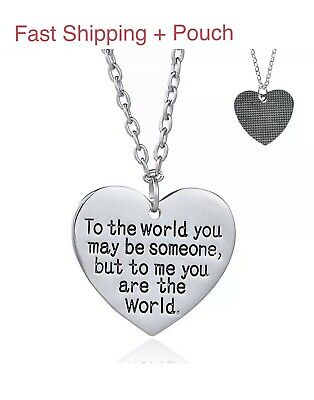 Mother's Day Gift for Mom Wife You are My World Heart Necklace Girlfriend N51