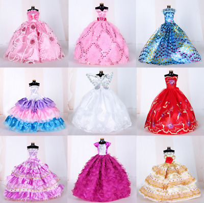 9PCS Barbie Doll Wedding Party Dress Princess Clothes Handmade Outfit for 12in-