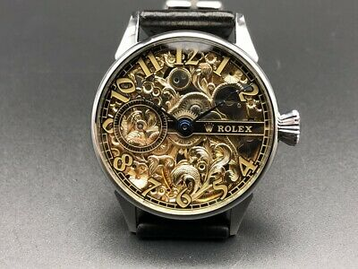 ROLEX 12H Rare Classic Skeleton Edition Lever Swiss Pocket  Marriage Watch