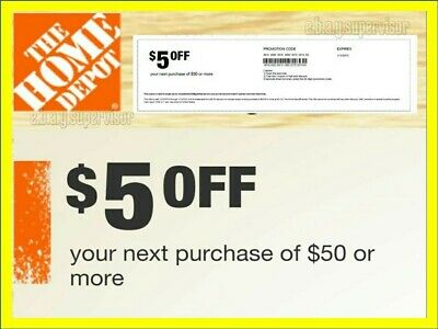 2 x Home Depot Coupons 5 OFF 50 In Store Use Only lNSTANT delivery