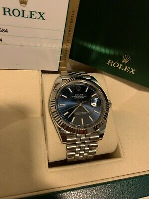 2018 Rolex Datejust 41mm 126334 Fluted Bezel BLUE Dial Jubilee w Box - Papers