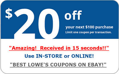 ONE 1x Lowes 20 off 100 Coupon Discount - In store-online - Fast Shipment