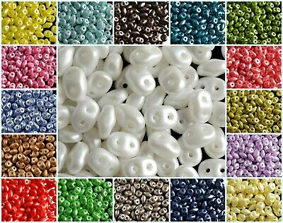 CHOOSE COLOR 20g 2-hole SuperDuo Seed Beads PASTEL COLORS Czech Glass