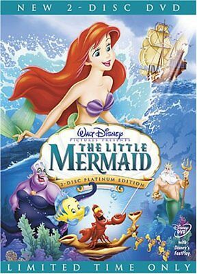 The Little Mermaid DVD 2-Disc Set Platinum Edition comes w Slipcover Free Ship