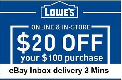 3xTHREE Lowes 20 OFF 100Coupons-InStore and Online -FAST-3-mins-SEND