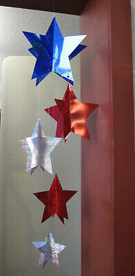 Memorial Day Fourth of July 4th Hanging Star Decorations 5 Pcs 39 Long