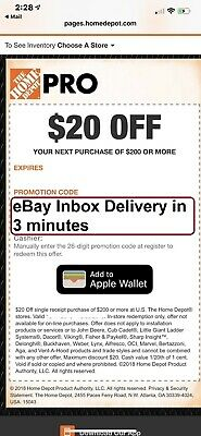 One 1x Home Depot 20 off 200 In-Store Only-1Coupon -Super-FAST-3mins-Delivery
