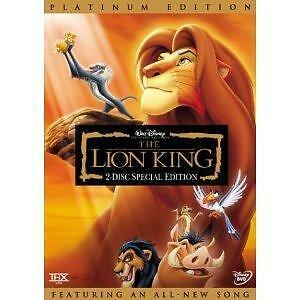 The Lion King DVD Platinum Edition 2 Disc Set New - Sealed with Slipcover