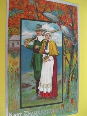 ANTIQUE POSTCARD THANKSGIVING POSTED 1909 PICTURES A PILGRIM COUPLE