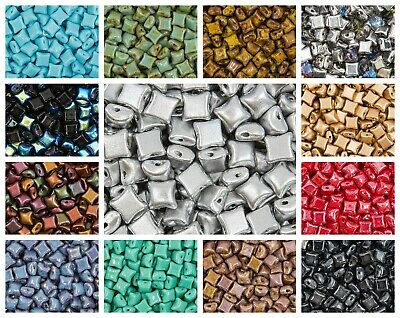CHOOSE COLOR 50 pcs WibeDuo® Beads 8x8 mm2-Hole Czech Glass