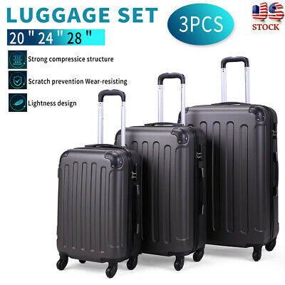3 Piece Luggage Set Travel Trolley Suitcase ABS-PC Nested Spinner w Cover Gray
