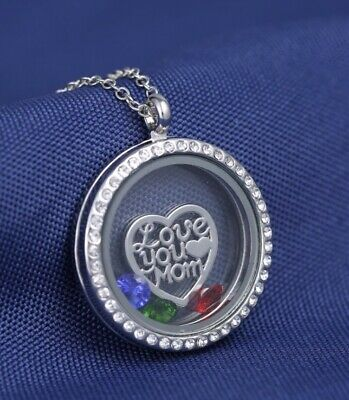 Mothers Day Kids Custom Personalized Birthstones living memory locket necklace