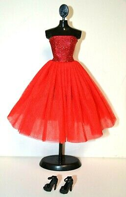 Eledoll Red Dress - Shoes Set for 11-5 - 12 Fashion Doll Vintage Style Tulle