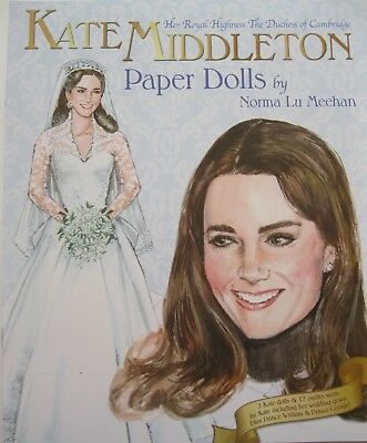 Her Royal Highness KATE MIDDLETON Paper Doll Book-2 Dolls w Authentic Outfits