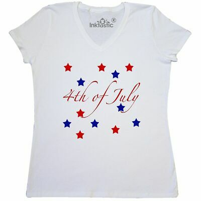 Inktastic 4th Of July Stars Womens V-Neck T-Shirt Red White Blue America Flag