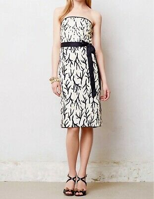 Anthropologie Moulinette Soeurs Sequin Silk Embroidered Dress Size 12 Strapless