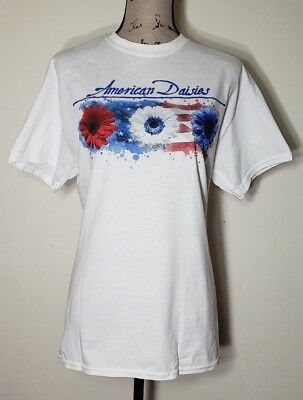 America T-Shirt USA Women 4th Of July Independence Day Red White Blue Flower NWT