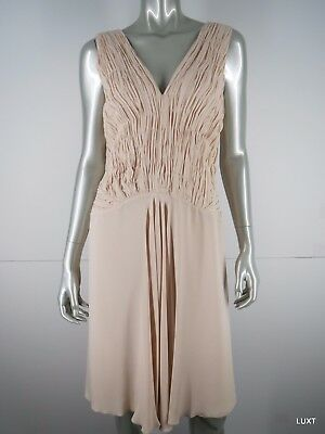 Red Valentino Dress Cocktail Party NEW 695 Size 12 48 L Silk Blush Pink Ruched