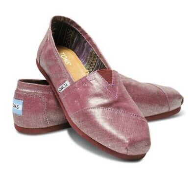 TOMS Shoes Classics Raspberry Metallic Linen Womens size 9  BNIB New with tags