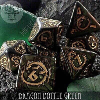 Dragon Marble Green Dice Set | Dungeons and Dragons | DND DICE | Q-Workshop