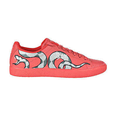 Puma Clyde Snake Embroidery Mens Shoes Ribbon RedLaurel Wreath 368111-02