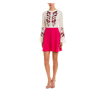 Tanya Taylor A-Line Silk Dress Womens 6 Long Sleeve Pink Embroidered Fit - Flare