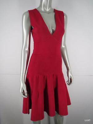 Issa London Dress Cocktail NEW 675 Sz L Red Ribbed Sleeveless V-Neck Fit Flare