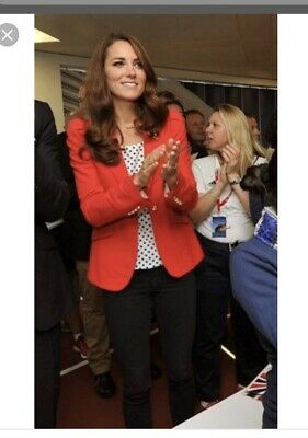 Stylish Zara Red Fitted Blazer Size Large UK 14 - As Worn By Kate Middleton