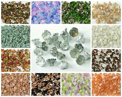 CHOOSE COLOR 50pcs Flower Cup Beads 7x5mm Czech Glass Pressed Glass