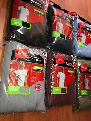 Hanes Mens Tag Free Pocket T shirts 6 Pack Size S-3XL Assorted Colors Cant Pick