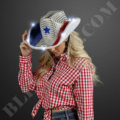 Patriotic 4th of July Independence Day Light Up LED Cowboy Hat Costume party